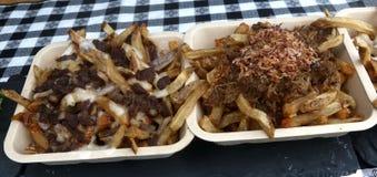 Cerdo, alubias negras y patatas fritas tirados con la salsa de queso imagen de archivo libre de regalías