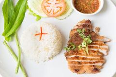 Cerdo asado a la parrilla con arroz frito del ajo Imagen de archivo libre de regalías