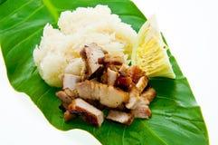 Cerdo asado a la parrilla estilo tailandés tradicional con arroz Fotos de archivo