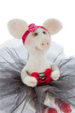 Cerdo blanco del juguete en un tutú Fotos de archivo