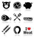 Cerdo, carne de cerdo - jamón e iconos del tocino fijados Imagen de archivo libre de regalías
