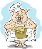Cerdo con el menú Imagen de archivo libre de regalías