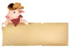 Cerdo con el sombrero de vaquero Fotos de archivo libres de regalías