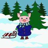 Cerdo con el trineo en tu bosque nevoso stock de ilustración