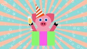Cerdo con un vidrio del ejemplo del fondo 3D del partido del Año Nuevo del champán stock de ilustración