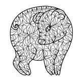 Cerdo coqueto lindo de dibujo del zentangle libre illustration