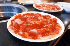 Cerdo cortado con la salsa coreana para la comida coreana del Bbq Fotografía de archivo libre de regalías