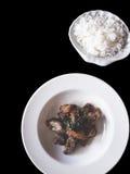 Cerdo curruscante sofrito con la albahaca tailandesa en negro aislada imagen de archivo