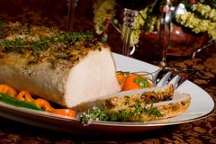 Cerdo de carne asada del tomillo del ajo Fotografía de archivo libre de regalías