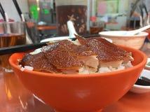 Cerdo de cría del Bbq con arroz fotos de archivo