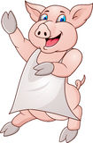 Cerdo de Funy con el delantal Fotos de archivo libres de regalías