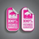 Cerdo de la etiqueta engomada de la comida ilustración del vector