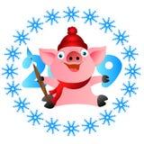 Cerdo de la Feliz Navidad con un cepillo Cerdo de la Feliz Navidad con un cepillo stock de ilustración