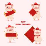 Cerdo de la historieta con 2019 stock de ilustración