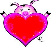 Cerdo de la historieta con el corazón del amor Fotos de archivo