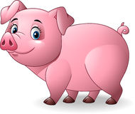 Cerdo de la historieta en el fondo blanco Imagen de archivo