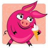Cerdo de la historieta que come el helado. ilustración Imágenes de archivo libres de regalías