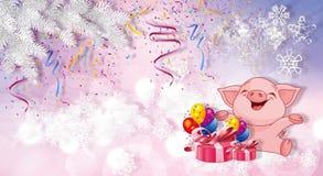 Cerdo de la Navidad con los regalos Símbolo de 2019 chinos del Año Nuevo ilustración del vector