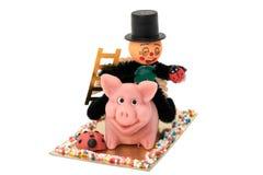 Cerdo de Lucky Happy New Year y un barrido de chimenea Fotografía de archivo libre de regalías