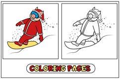 Cerdo de santa del colorante en snowboard Stock de ilustración