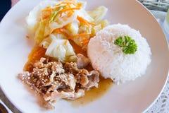 Cerdo de Teriyaki y fritada de la verdura con arroz Foco selectivo Fotos de archivo libres de regalías