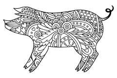 Cerdo decorativo blanco y negro stock de ilustración