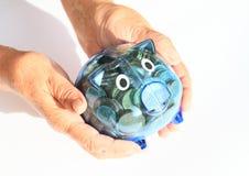 Cerdo del ahorro por completo del dinero en manos Foto de archivo libre de regalías