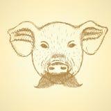 Cerdo del bosquejo con el bigote, fondo del vector Foto de archivo