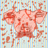 Cerdo del bosquejo con el bigote, fondo del vector Fotos de archivo