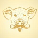 Cerdo del bosquejo con el bigote, fondo del vector Foto de archivo libre de regalías