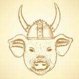 Cerdo del bosquejo en el casco de vikingo libre illustration