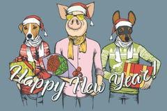 Cerdo del concepto del vector del Año Nuevo y dos perros ilustración del vector