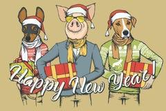 Cerdo del concepto del vector del Año Nuevo y dos perros stock de ilustración