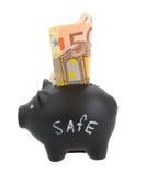Cerdo del dinero con el billete de banco euro Imagenes de archivo
