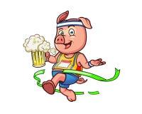 Cerdo del maratón stock de ilustración