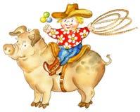 Cerdo del montar a caballo del vaquero de Llittle ilustración del vector