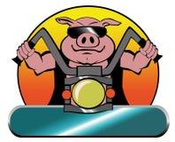 Cerdo del motorista de la motocicleta en un Harley stock de ilustración