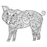 Cerdo del vector El ejemplo del cerdo de Zentangle, cerdo imprime para el adulto a Imágenes de archivo libres de regalías
