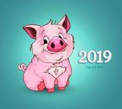 Cerdo divertido lindo Feliz Año Nuevo Símbolo chino de los 2019 años libre illustration
