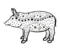 Cerdo en blanco Dé el animal exhausto con los modelos complejos en fondo aislado diseño para la relajación espiritual para los ad ilustración del vector