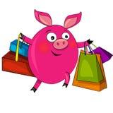 Cerdo en compras de la manera. ilustración. Imagen de archivo