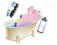 Cerdo en el cuarto de baño Foto de archivo libre de regalías