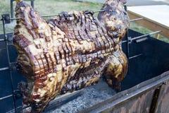 Cerdo en el fuego Imagen de archivo libre de regalías