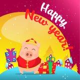 Cerdo en escena de la nieve postal stock de ilustración