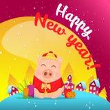 Cerdo en escena de la nieve postal libre illustration