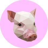Cerdo en un estilo del polígono Ejemplo de la moda de la tendencia en pocilga stock de ilustración