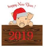 Cerdo en un sombrero de la Navidad cerdo 2019 del th ¡Feliz Año Nuevo! stock de ilustración