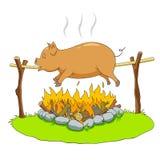 Cerdo en una escupida Fotografía de archivo libre de regalías