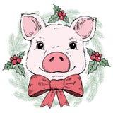 Cerdo en una guirnalda de la Navidad Ilustración del vector foto de archivo