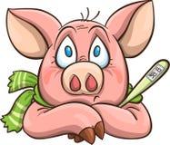 Cerdo enfermo de la historieta Fotos de archivo